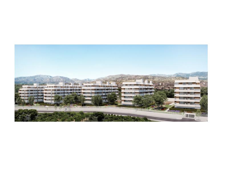Las cinco torres de la promoción Taracea de AEDAS Homes en Granada.